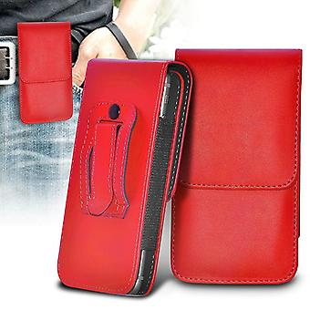 ONX3 (Red) Gionee M6 Mirror Case Premium Vertical Faux Leather Belt Holster Pouch Cover