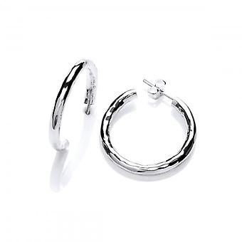 Cavendish French Sterling Silver Large Hammered Hoop Earrings