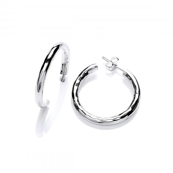 Cavendish Franse Sterling Zilver grote geciseleerde Hoop Earrings Hoop Earrings