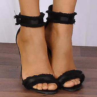 Shoe Closet Black Satin Fringed Barely There Stilettos Strappy Sandals High Heels