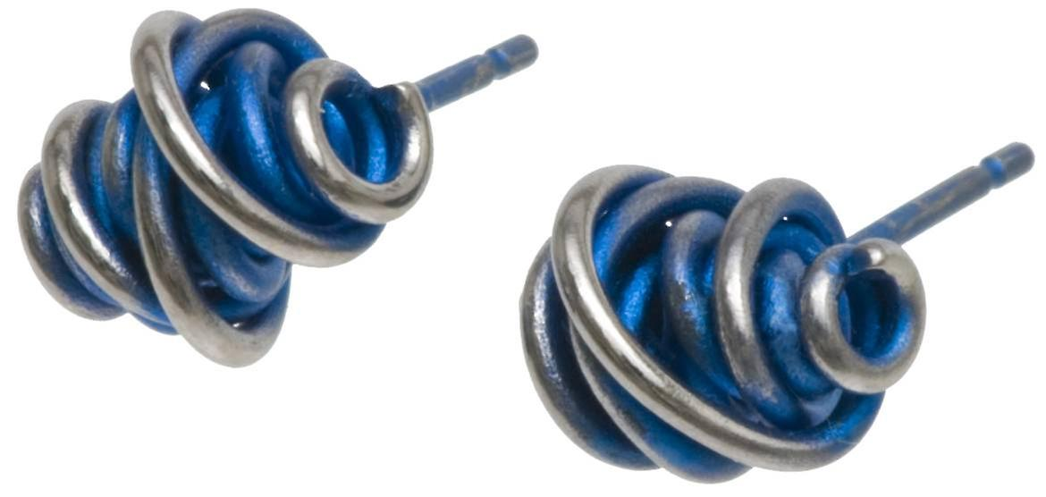 Ti2 Titanium Chaos Small Stud Earrings - Navy