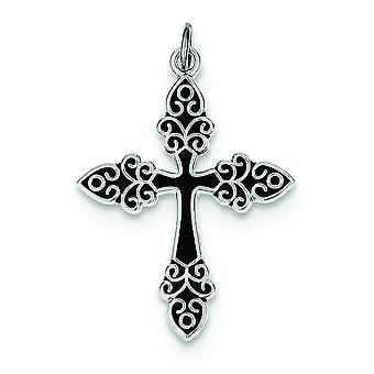 Sterling zilveren solide gepolijst platte achterkant zwart geëmailleerd Kruis hanger - 1.5 gram