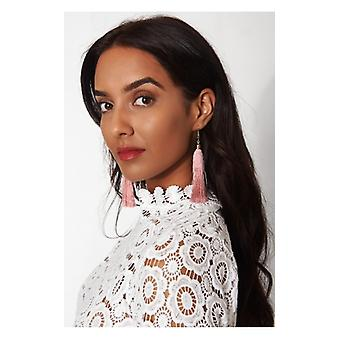 The Fashion Bible Isa Nude Tassel Earrings