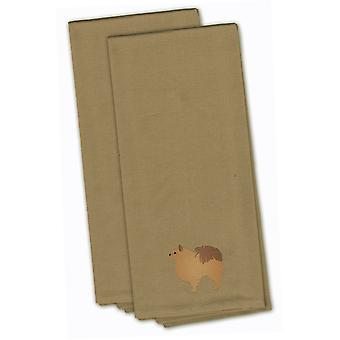 Pomeranian Tan Embroidered Kitchen Towel Set of 2
