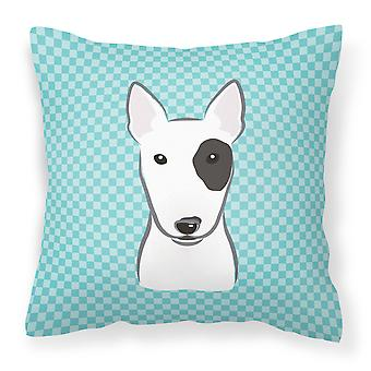 Checkerboard Blue Bull Terrier Canvas Fabric Decorative Pillow
