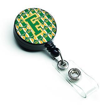 Buchstabe F Fußball grün und Gold versenkbare Abzeichen Reel