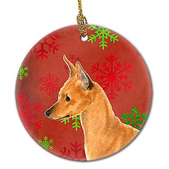 Min Pin Red Snowflakes Holiday Christmas Ceramic Ornament SS4673