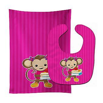 Carolines skarby BB7018STBU Monkey i szkoła książki Baby Bib & Burp tkanina