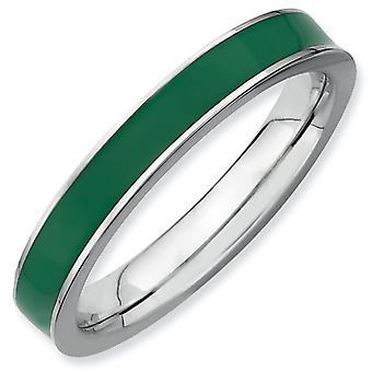 Sterling Silver Stackable Expressions Green Enameled 3.25mm Ring - Ring Size: 5 to 10