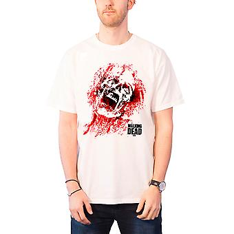 The Walking Dead Mens T Shirt White Zombie Blood Face walkers new Official