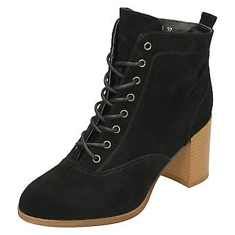 Ladies Down To Earth High Stack Heel Ankle Boots F50799