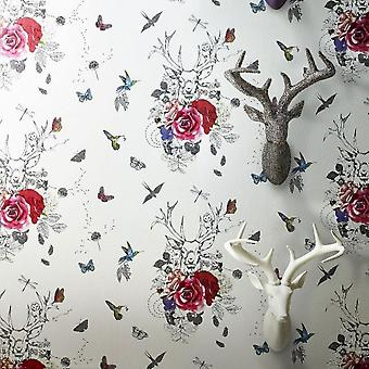 Stag Butterflies Flower Birds Wallpaper Glitter White Multi Spellbound Arthouse