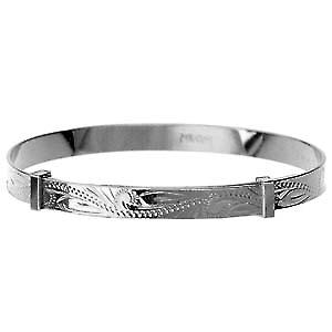 Silver 50mm diameter expanding baby Bangle hand engraved