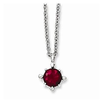 Red Synthetic Cz Pendant Necklace in Stainless Steel - Lobster Claw Cable