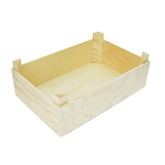 29cm Rectangular Wooden Crate to Decorate - Ideal for DIY Miniature Gardens