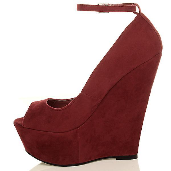 Ajvani womens high heel wedge platform peep toe court shoes ankle strap sandals