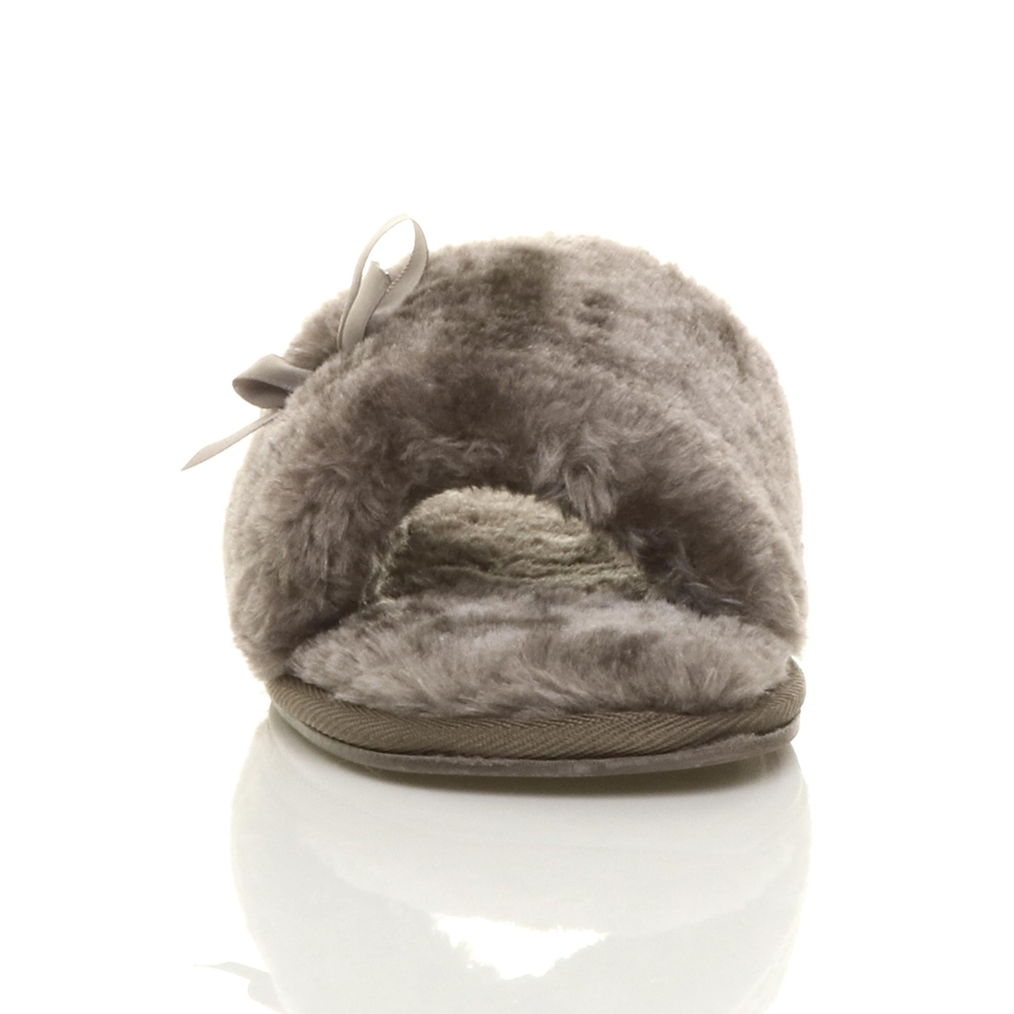 peep luxury womens bow cosy toe sheepskin flat Ajvani slippers faux on fur slip qBXEX