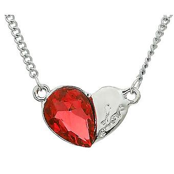 Womens Love Heart Silver and Orange Pendant Necklace