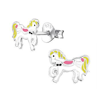 Horse - 925 Sterling Silver + Epoxy Colour Colourful Ear Studs