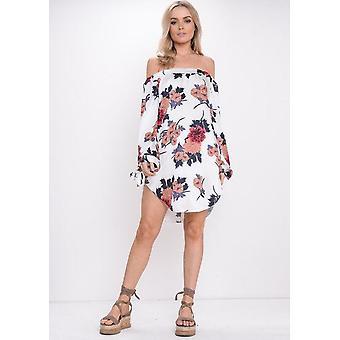 Floral Bardot ab Schulter Kleid Orange