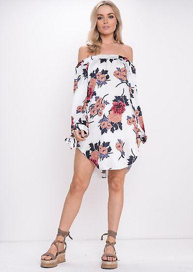 Floral Bardot Off Shoulder Dress Orange