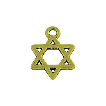 Packet 30 x Steampunk Bronze Tibetan 15mm Star Of David Charm/Pendant ZX15570
