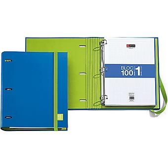 3-Ring Refillable Binder & 100 Sheets Of Paper-Blue
