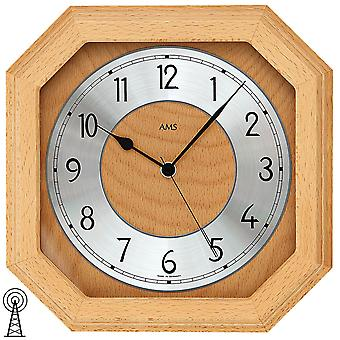 AMS 5864/18 wall clock radio mineral glass solid beech