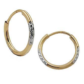 gold Ohrringe Creolen gold 375 Kreolen Creole, bicolor, diamantiert, 9 Kt GOLD