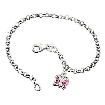 Bracelet silver bracelets Butterfly pea chain Silver 925 pink glass blocks