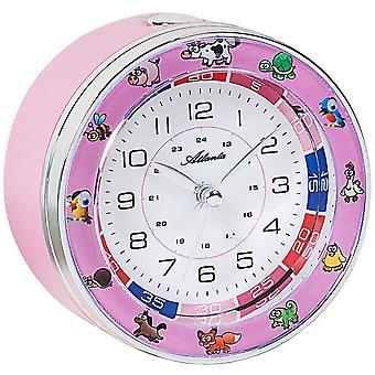 Atlanta 1982/17 relógio crianças meninas miúdos animais despertador rosa sem tique-taque