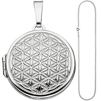 Medallion round flower of life pendant to open 925 Silver Chain 60 cm