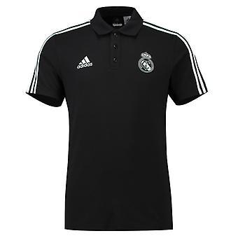 2018-2019 Real Madrid Adidas 3S Polo Shirt (Black)