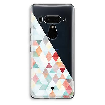 HTC U12+ Transparent Case (Soft) - Coloured triangles pastel
