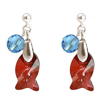 Damen Ohrringe 925 Silber Fisch Rot Blau MADE WITH SWAROVSKI ELEMENTS® 3 cm