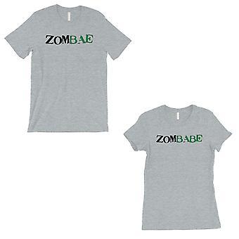 Zombae And Zombabe Matching Couple Gift Shirts Grey