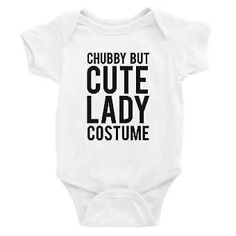 Mollig maar schattige dame kostuum Baby Romper Gift wit