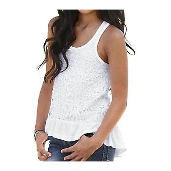 ARIZONA playful girl tank top with lace white