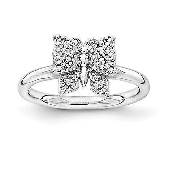 2,25 mm argent Sterling plaqué Rhodium empilable Expressions diamant bague papillon - bague taille: 5 à 10