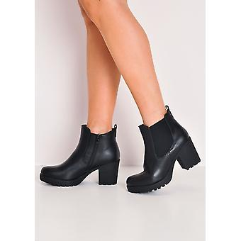 Cleated Platform Elasticated Chelsea Ankle Boots Faux Leather Black
