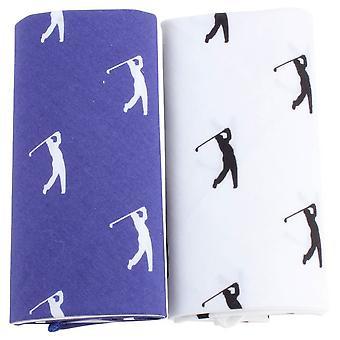 David Van Hagen nieuwigheid Golfer zakdoek Set - wit/blauw