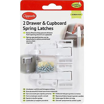 Clippasafe Premium+ Drawer & Cupboard Spring Latches 2 Pack