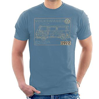 Official Volkswagen Type 2 Camper Plans Light Text Men's T-Shirt