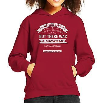 The Book Thief Markus Zusak Christmas Quote Kid's Hooded Sweatshirt