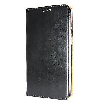 Etui portefeuille d'iPhone 7/8 livre Slim en cuir véritable noir
