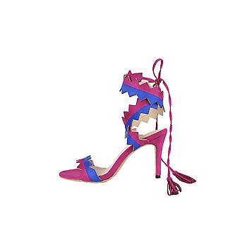 LMS Wraparound Zigzag Heel Sandals In Pink & Blue