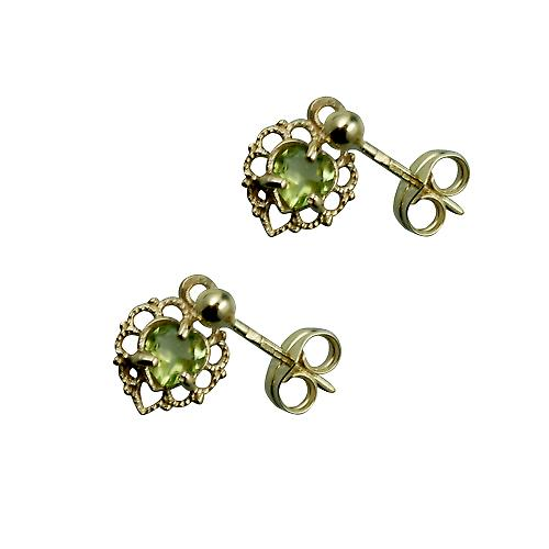 9ct Gold 11x7mm filigree heart Dropper Earrings set with Peridot