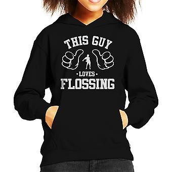 Deze kerel houdt flossen Kid's Hooded Sweatshirt