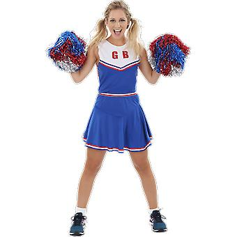 Womens Team GB Cheerleader Outfit Blue Team Cheer Uniform Fancy Dress Costume