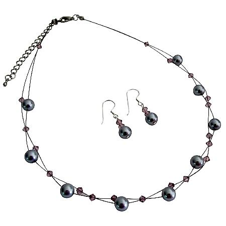 Illusion Lite Gray Lite Amethyst Floating Necklace Cute Earrings Set